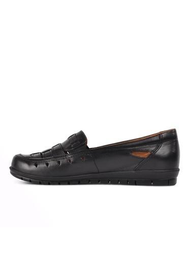 Ayakmod 429 Siyah Hakiki Deri Kadın Günlük Ayakkabı Siyah
